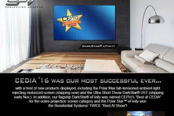 EPV® Screens Wins Two More Major Awards at CEDIA '16